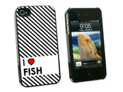 I Love Heart Fish - Snap On Hard Protective Case for Apple iPhone 4 4S - Black