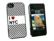 I Love Heart NYC - New York City - Snap On Hard Protective Case for Apple iPhone 4 4S - Black