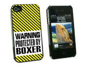 Warning Protected By Boxer - Snap On Hard Protective Case for Apple iPhone 4 4S - Black