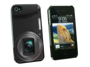 Point and Shoot Camera Design - Snap On Hard Protective Case for Apple iPhone 4 4S - Black
