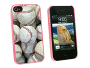 Baseballs - Baseball Balls - Snap On Hard Protective Case for Apple iPhone 4 4S - Pink
