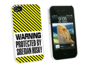 Warning Protected By Siberian Husky - Snap On Hard Protective Case for Apple iPhone 4 4S - White