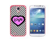 Big Pink Heart Love Black Stripes - Snap On Hard Protective Case for Samsung Galaxy S4 - Pink