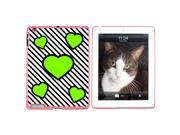 Love Cute Hearts Green Black Stripes Snap On Hard Protective Case for Apple iPad 2 3 4 Pink