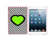 Big Green Love Black Stripes Snap On Hard Protective Case for Apple iPad Mini - Pink