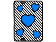 Love Cute Hearts Blue Black Stripes - Snap On Hard Protective Case for Amazon Kindle Fire HD 7in Tablet