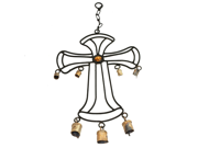 Wrought Iron Hanging Outdoor Garden Cross Wind Chime with Antique Rusted Bells