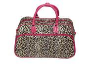 All-Seasons Leopard Print 21-inch Carry-On Shoulder Tote Duffel Bag - Pink Trim
