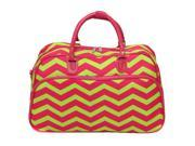 All-Seasons ZigZag 21-inch Carry-On Shoulder Tote Duffel Bag - Pink Lemonade