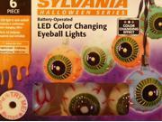 Sylvania 6 LED Color Changing Eyeball Lights Halloween String Light Set