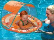 Swim Ways Baby Spring Float with Sun Canopy Orange Turtles & Flowers Design