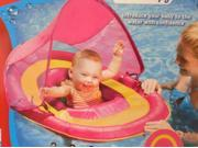 Swim Ways Baby Spring Float with Sun Canopy Pink & Yellow Design