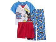 Disney Junior Toddler Boys 3 Piece Mickey's League Baseball Pajama Sleepwear Set