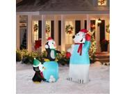 Gemmy Airblown Inflatable Snowball Fight 2 Pack Penguins & Polar Bear