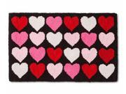 Decor Valentine Hooked Rug Pink & Red Hearts Throw Rug Love Accent Mat 18x30