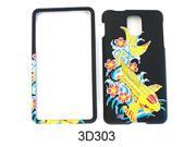 Snap-On Protector Case for Samsung Infuse 4G I997 (3D Embossed/Fish with Flowers on Black)