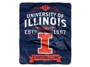 Illinois College Retro 50x60 Raschel Throw