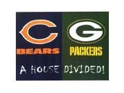 NFL Bears-Packers House Divided Football Accent Floor Rug