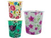 Round Floral Waste Basket Case Pack 8