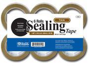 "Bazic 1.89"""" x 110 Yards Tan Packing Tape - 6/pack Case Pack 6"