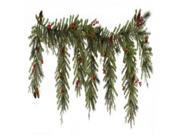 "6.5' x 35"""""""" Red Berry and Ball Ornament Mixed Pine Artificial Christmas Garland - Unlit"" 9SIV1976Y26957"