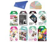 Fujifilm Instax Mini Instant Film 8-SET , Monochrome + Black + Sky Blue + Single + Candy Pop + Stained Glass + Stripe + Rainbow + Cloth + Sticker for Mini 90 8