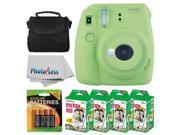 Fujifilm instax mini 9 Instant Film Camera (Lime Green) + Fujifilm Instax Mini Twin Pack Instant Film (80 Shots) + Camera Case + AA Batteries + Accessory Bundle