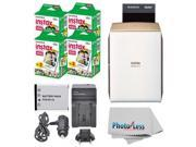 Fujifilm instax SHARE Smartphone Printer SP-2 (Gold) + Fujifilm Mini Twin Pack (80 Shots) + Travel Charger & Extra Battery + Cleaning Cloth + Filming Bundle - I