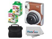 Fujifilm INSTAX Mini 90 Neo Classic Instant Camera (Brown) With 2x Fujifilm Instax Mini 20 Pack Instant Film (40 Shots) + Compact Camera Case + Cleaning Cloth -