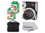 Fujifilm INSTAX Mini 90 Neo Classic Instant Camera (Black) With 2x Fujifilm Instax Mini 20 Pack Instant Film (40 Shots) + Compact Camera Case + Cleaning Cloth -