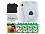 Fujifilm instax mini 9 Instant Film Camera (Smokey White) + Fujifilm Instax Mini Twin Pack Instant Film (80 Shots) + Camera Case + AA Batteries + Accessory Bund
