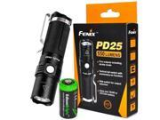 Fenix PD25 550 Lumen CREE XP-L V5 LED Tactical EDC Flashlight with holster, clip and EdisonBright CR123A Lithium Battery bundle 9SIV1976WJ0141