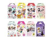 fujifilm instax mini film 8 pack bundle hello kitty, disney mickey, pooh, rilakkuma, little twin stars, candy pop, shiny star, disney alice and+ stickers 40 pcs