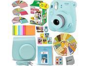 FujiFilm Instax Mini 9 Instant Camera ICE BLUE + EMOJI Film stickers + Fuji INSTAX Film (20 Sheets) + Blue Custom Fitted Case + Instax Album + Colorful Stickers