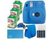 Fujifilm Instax Mini 9 Instant Camera (Cobalt Blue) + Fujifilm Instax Mini Twin Pack Instant Film (60 Exposures) + Camera Case + Scrapbooking Album + 4 AA Batte