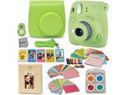 Fujifilm Instax Mini 9 Instant Fuji Camera (LIME GREEN) + Accessories Bundle + Custom Matching Case w/Neck Strap + Photo Album + Assorted Frames + 4 Color Filte