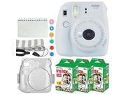 fujifilm instax mini 9 instant camera smokey white + fujifilm instax mini twin pack instant film 60 exposures + glitter case + scrapbook album + 6 colored lens