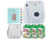 Fujifilm instax mini 9 Instant Film Camera (Smokey White) + Fujifilm Instax Mini Twin Pack Instant (60 Shots) + Hard Case with Glitter + 6 Piece Colored Lens Fi