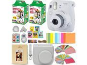 Fujifilm Instax Mini 9 Instant Camera WHITE + Fuji INSTAX Film (40 Sheets) + Accessories Kit Bundle + Custom Case with Strap + Assorted Frames + Photo Album + 6