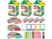 Xtech accessories Kit for Fujifilm Instax Mini 9/8 Camera includes: 3 x Fujifilm INSTAX Mini Film Pack (60 Sheets total), 60 Colorful Mini 9 Sticker Frames, Col