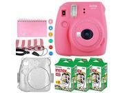 Fujifilm Instax Mini 9 Instant Camera (Flamingo Pink) + Fujifilm Instax Mini Twin Pack Instant Film (60 Exposures) + Glitter Case + Scrapbook Album + 6 Colored