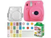 Fujifilm Instax Mini 9 Instant Camera (Flamingo Pink) + Fujifilm Instax Mini Twin Pack Instant Film (20 Exposures) + Glitter Hard Case + Colored Filters + Album