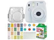 Fujifilm Instax Mini 9 Instant Camera (Smokey White) + Fujifilm Instax Mini Twin Pack Instant Film (20 Exposures) + Glitter Hard Case + Colored Filters + Album