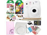 Fujifilm Instax Mini 9 Instant Camera (Smokey White), Rainbow Film Pack, Twin Pack Instant Film, Case, 4 AA Rechargeable Battery with charger, Square Photo Fram