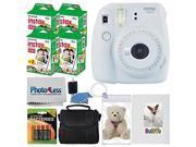 Fujifilm instax mini 9 Instant Film Camera (Smokey White) + Fujifilm Instax Mini Twin Pack Instant Film (80 Shots) + Photo Keychain + Selfie Album + 4 AA Batter