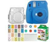 Fujifilm Instax Mini 9 Instant Camera (Cobalt Blue) + Fujifilm Instax Mini Twin Pack Instant Film (20 Exposures) + Glitter Hard Case + Colored Filters + Album (