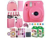 Fujifilm instax mini 9 Instant Film Camera (Flamingo Pink) + Fujifilm Instax Mini Twin Pack Instant (40 Shots) + Case + Scrapbook Album + Colored Filters + Came