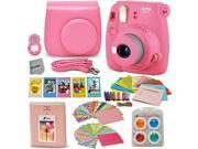 Fujifilm Instax Mini 9 Instant Fuji Camera (FLAMINGO PINK) + Accessories Bundle + Custom Matching Case w/Neck Strap + Photo Album + Assorted Frames + 4 Color Fi