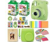 Fujifilm Instax Mini 9 Instant Camera LIME GREEN + Fuji INSTAX Film (40 Sheets) + Accessories Kit Bundle + Custom Case with Strap + Assorted Frames + Photo Albu