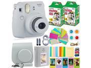fujifilm instax mini 9 instant camera + fuji instax film 40 sheets + accessories bundle  carrying case, color filters, photo album, stickers, selfie lens + more
